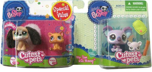 Littlest Pet Shop - # 2413 Basset Hound / Dog + # 2414 Kitten / Cat Orange + 2501 Mommy Koala Bear + # 2502 Baby Koala Bear - Cutest Pets - Bundel Promotion / Bonus Pack - Hasbro
