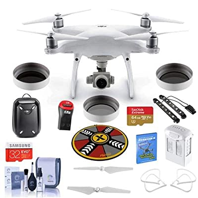 DJI Phantom 4 Advanced Premium Kit - Bundle with DJI Hardshell Backpack, 64/32GB MicroSDXC Card, Spare Battery, Quick-Release Propellers, Propeller Guard, Collapsible Pad, Polar LED Light Bars, More