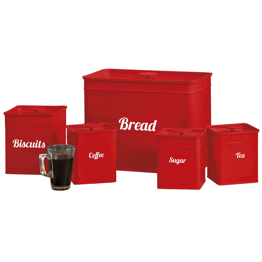 Cooks Professional Kitchen Storage Canister Set 5 Piece Tin Containers for Tea, Coffee, Sugar, Biscuits & Bread (Red) Clifford James