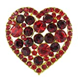 Mother's Day Candy Box Heart Rhinestone Brooch Pin with Red and Dark Red Crystals