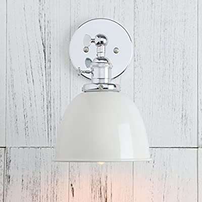 Permo Polished Chrome 6.3-Inch Metal Dome Shade Vintage Industrial Wall Sconce Lighting Fixture