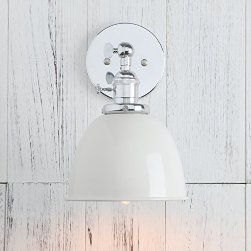 Permo Polished Chrome 6.3-Inch Metal Dome Shade Vintage Industrial Wall Sconce Lighting Fixture (White) Wall Sconce Switch
