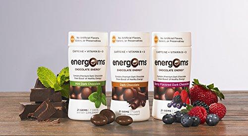 Energems Dark Chocolate Energy Boost with Caffeine, Vitamin B, Vitamin D, Antioxidants, plus L-Theanine- 21 Dietary Supplement Gems (1 Bottle- Dark Chocolate)