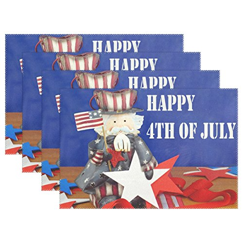 ALAZA Placemats Set of 4,Independence Day With Cute Uncle Sam Sitting On Wooden Table Washable Table Mat for Kitchen Dining Table 12 X 18 Inch Place -