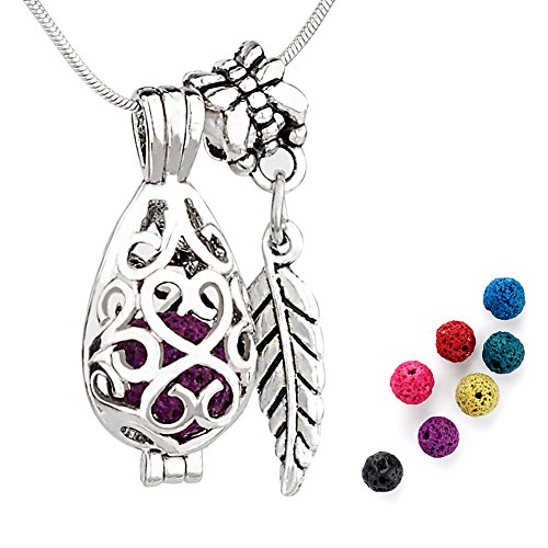 ALUCKY Aromatherapy Essential Oil Diffuser Necklace For Women,Teardrop Locket Pendant,22 Adjustable Stainless Steel Chain,7 Multi-Colored Lava Stone Beads- Perfect Gift