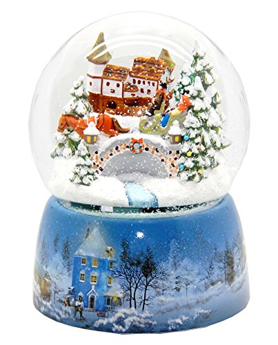 Santas Sleigh Maker (20066 Snow Globe Nostalgic Sleigh Ride Winter Landscape 6 inch diameter, Snowmotion & Music Box)