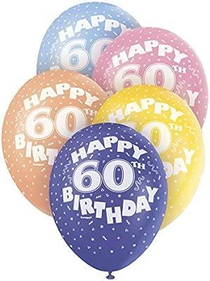 Unique Party-Globos Perlados de Látex para Cumpleaños Happy 60th Birthday, 5 Unidades, 30 cm (80216)