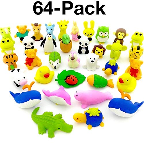 OHill Animal Erasers, Pack of 64 3D Animal Pencil Erasers Puzzle Erasers Kid Erasers for Party Favors Games Prizes Carnivals and Classroom Rewards