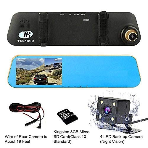 """HD Mirror Car Cams Front and Rear Dash Camera,TENNBOO 1080P Dashboard Recorder with Back Up Reversing Camera,4.3"""" LCD Wide Angle Vehicle DVR Night Vision, Loop Recording"""