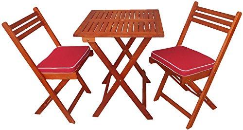 Zen Garden Eucalyptus Foldable 3 Piece Square Bistro Set With Chair Cushions