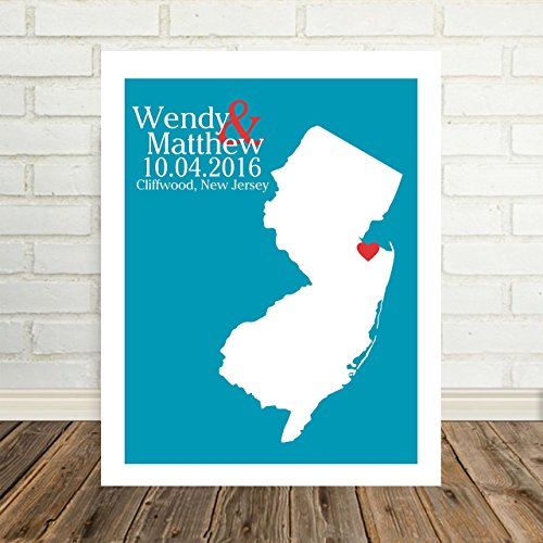 New Jersey State Map Personalized New Jersey Print Personalized New Jersey Map Custom Wedding Map Any Location Available Worldwide Personalized Map Art