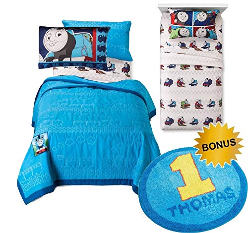 THOMAS The Tank Engine TWIN Size COTTON Quilt and Pillow Sham + Sheet Set and 25
