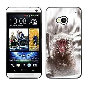 Caucho caso de Shell duro de la cubierta de accesorios de protección BY RAYDREAMMM - HTC One M7 - Cool Japanese Snow Monkey