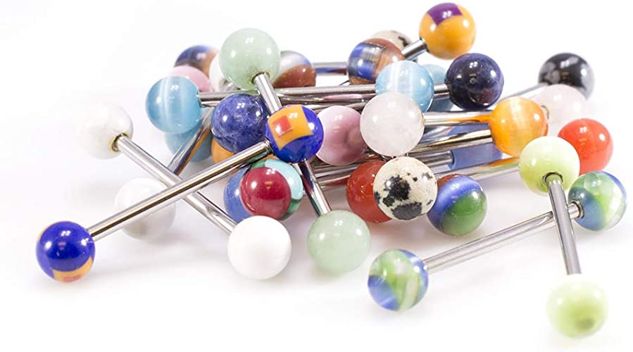 20 X Multi Coloured Steel Tongue Bars UV Acrylic Nipple Body Jewellery