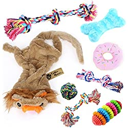 Critter Mamas Puppy Chew Toys and Teething Ropes Set (8 Pack)