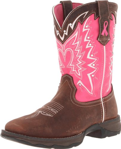 Durango Lady Rebel 10 Inch Pull On Rd3557 Western Boot Dark Brown Pink 9 5 M Us