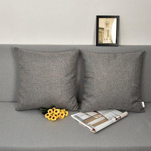 Natus Weaver Decor Lined Linen Burlap Square Throw Cushion Cover Sham Euro Pillowcase With Hidden Zipper, 18