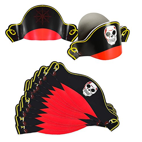 12 Pack - Pirate Birthday Hats - Pirate Theme Party Supplies - Pirate Party by Funny Party Hats (Kids Swashbuckling Pirate Hat)