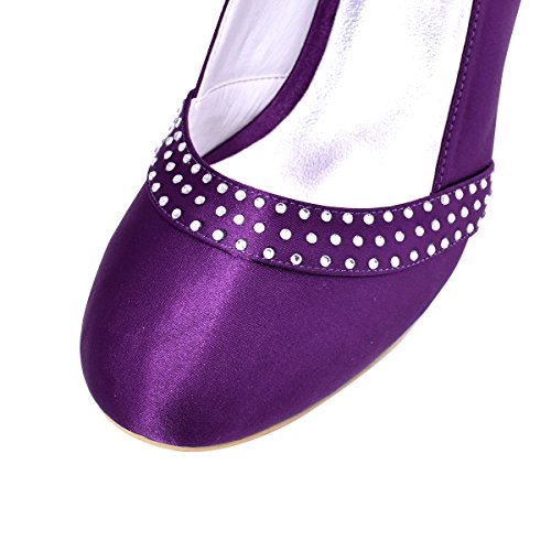ElegantPark A0718 Women Closed Toe Mid Heels Rhinestone Prom Satin Evening Party Bridal Court Shoes Purple AOzKPLPbSh