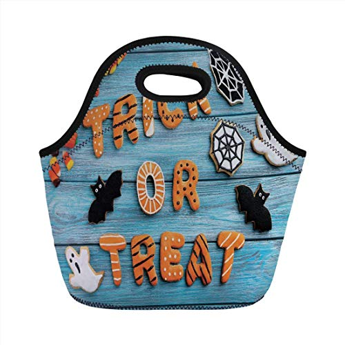 Vintage Halloween,Trick or Treat Cookie Wooden Table Ghost Bat Web Halloween,Blue Amber Multicolor,for Kids Adult Thermal Insulated Tote Bags -