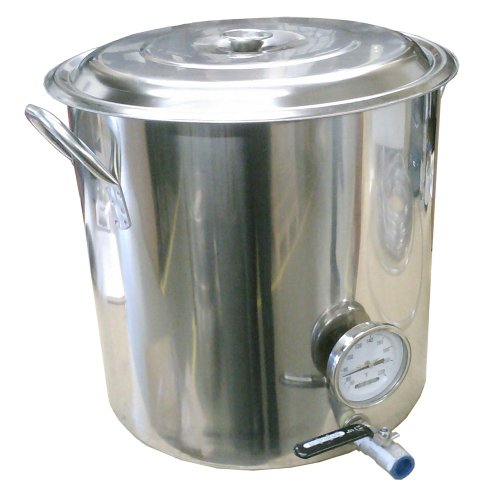 32 Qt Stainless Steel Kettle with Valve and Thermometer by Home Brew Stuff