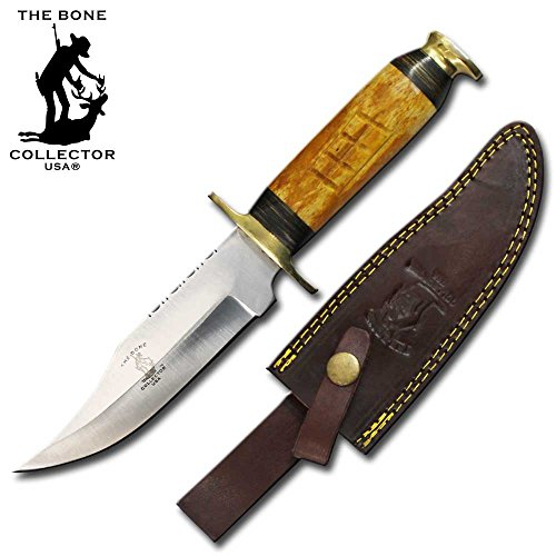 "Bone Collector Hunting Knife 10.5"" Stainless Steel Blade Yellow Bone Hand Made"