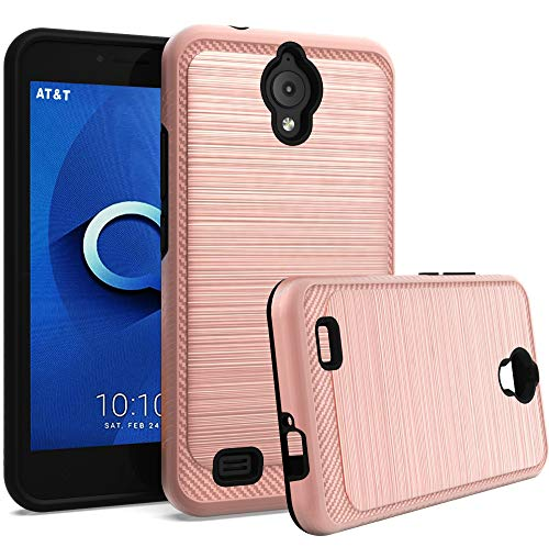 AT&T AXIA Case(QS5509A), GETE Shock Absorbing Dual Layer Protective Phone Cases Cover for AT&T AXIA 2018 (Rose Gold) (At And T Cell Phone Cases)