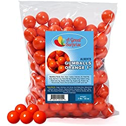 Gumballs in Bulk - Orange Gumballs for Candy Buffet - Shimmer Gumballs 1 Inch - Bulk Candy 2 LB