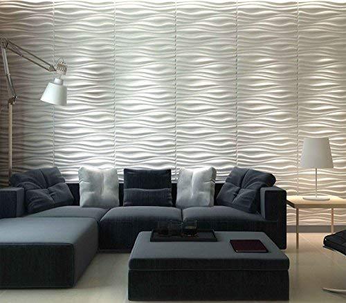 Art3d Decorative 3D Wall Panels Wave Board Design for TV Walls/Bedroom/Living Room Sofa Background, Pack of 6 Tiles 32 Sq Ft (Plant Fiber)
