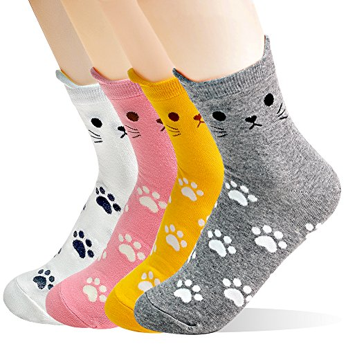 - Women Socks Gift Set - Animal Cat Dog Art Cartoon Character Funny | Gift Socks | Christmas Gifts for Ladies, Girlfriend, Mom (Animal - Cats Paw Print)