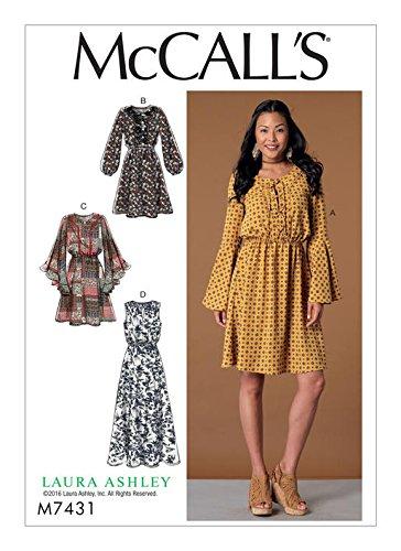 McCall M7431 (SIZE 6-14) Misses' Elastic-Waist Dresses wi...