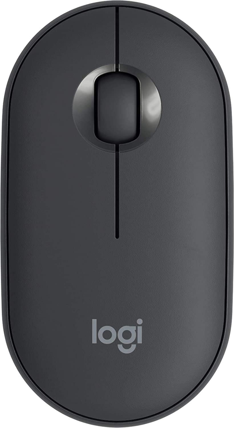 LOGI Pebble M350 Portable Wireless Mouse with Bluetooth or 2.4 GHz Receiver, Silent, Slim Computer Mouse with Quiet Click for Laptop, Notebook, PC and Mac - Graphite - Asian Version