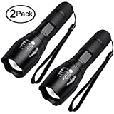 LED Torch Light Tactical Flashlight - FAGORY Zoom Adjustable Focus, Bright Beam High Lumen, Water Resistant, 5 Modes, Portable Handheld Light Mini Pocket Torches for Camping, Outdoors [2 Pack]