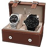 Joshua & Sons Men's JS40BK & JS85SSB Swiss Quartz Black & Silver Watch Set
