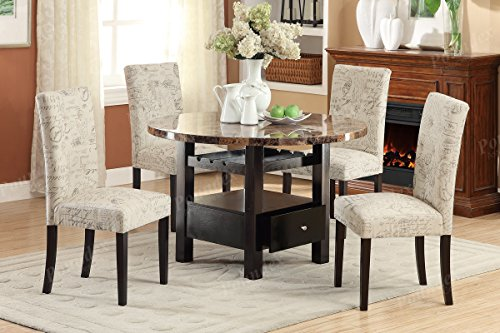 Set of 4 Upholstered Side Chairs in Micro Suede Print Polyester Fabric by Advanced Furniture