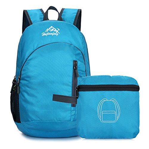 Dabixx pieghevole impermeabile viaggio zaino Outdoor camping hiking Cycling School bag-purple, Poliestere, Hot Pink, 20x26x43cm/7.87x10.24x16.93 Blue