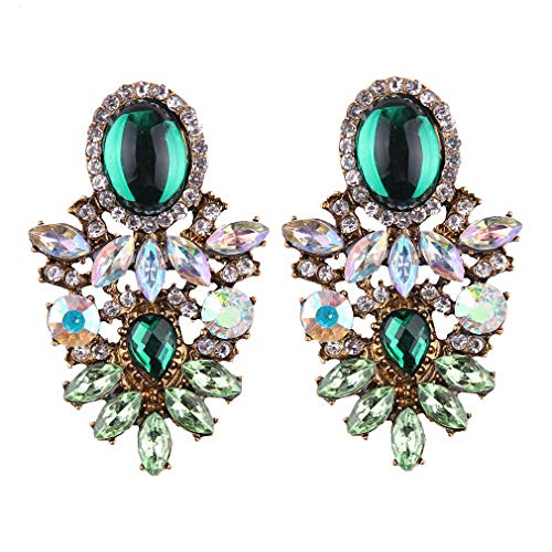 Glass Crystal Earrings Bohemian Wedding Statement Stud Earrings Women Drop Earrings Green Ab