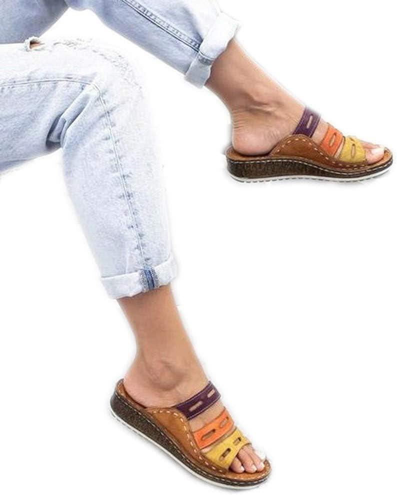 Sandalias De Mujer Verano Playa Viajes Plana Zapatillas Cuña Color De Costura Baja Slippers Respirable Ancha Sintetico Cuero Soporte Arqueado Verano Antideslizante