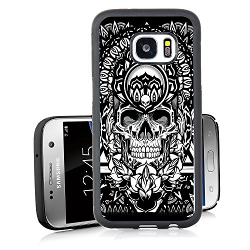 (Galaxy S7 Case Personalized Design Samsung Galaxy S7 TPU Black Cell Phone Case Black and White Skull Flowers)