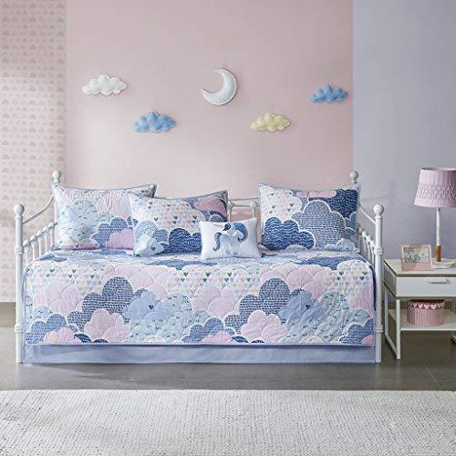 Urban Habitat Kids Cloud 100% Cotton Printed Reversible 6 Piece Quilt Coverlet Bedspread Bedding Set, Daybed Size, Blue