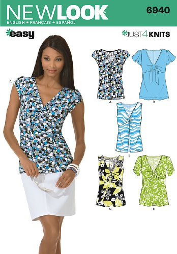 New Look Sewing Pattern 6940 Misses Knit Tops, Size A (4-6-8-10-12-14-16) (Tops Look Misses Knit New)