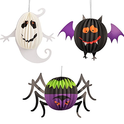 Ghosts & Spiders Swirl Decorations (Oxfox Halloween Paper Lantern Ghost Bat Spider Decoration Christmas Party Room Gardan Large)