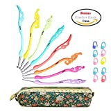 Image of Retro Crochet Hooks Set Ergonomic Grip Handle - Crochet Knitting Needles Knit Kit in Case - Great Gift for Her!