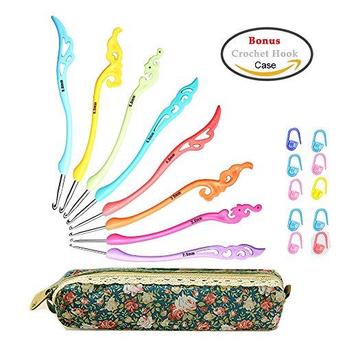 Retro Crochet Hooks Set Ergonomic Grip Handle - Crochet Knitting Needles Knit Kit in Case - Great Gift for Her!