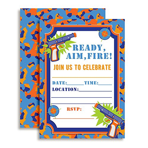 Dart Gun Birthday Party Invitations, 20 5x7 Fill in Cards with Twenty White Envelopes by AmandaCreation
