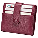 Reeple Women's RFID Blocking Small Compact Bifold Leather Pocket Wallet with ID Window(Rose Red)