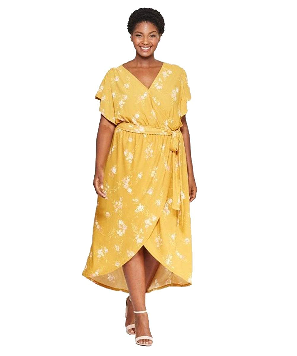 Ava & Viv Women\'s Plus Size Floral Print Wrap Dress (Yellow ...