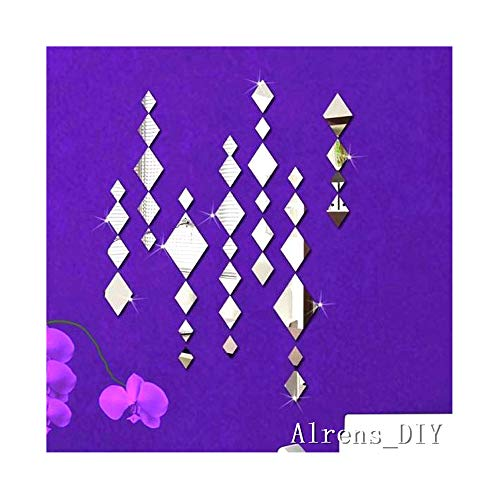 - Alrens_DIY(TM) Creative Rhombus Diamond Phombus Modern Crystal Reflective DIY Mirror Effect 3D Wall Stickers Home Decoration Decor Mural Decal adesivo de parede Removable