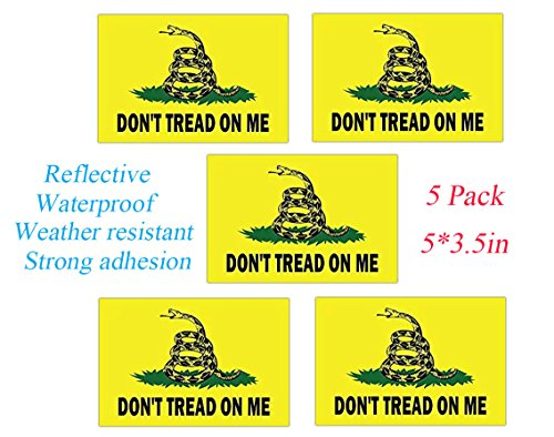TOWEE Reflective Don't Tread On Me Decals, Gadsden Dont Tread On Me Heavy Duty Decal Stickers for Car, Jeep, SUV,Truck, ETC. (5x3.5 Inch)