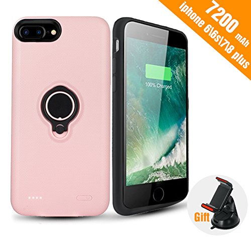 iPhone 8 Plus/7 Plus Battery Case - Super Capacity[7200 mAh] Extended Battery Pack Charger Case Rechargeable Power Bank for iPhone 8 Plus,7 Plus,6 Plus,6s Plus(Pink)